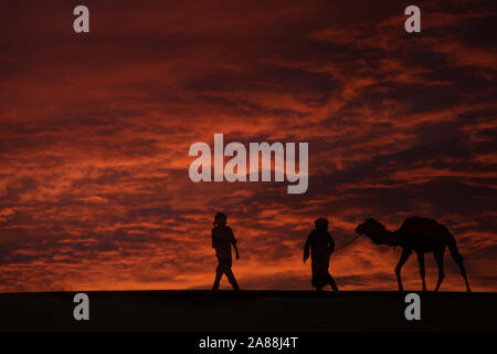 Silhouettes of two men with a camel (dromedary) in the desert against dark, red, cloudy sky. - Stock Photo