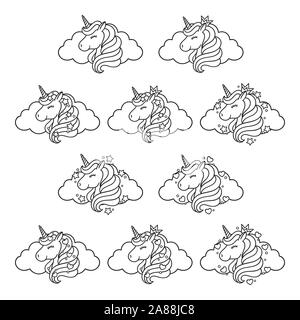 Unicorn head set with cloud, stars and hearts. Prints for baby clothes. Cute nursery art drawing. Vector illustration. Cute unicorn graphic print isol - Stock Photo