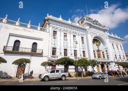 Chuquisaca Governorship Palace (or Gobierno Autónomo Departamental de Chuquisaca) in the 25 de Mayo Square or Main Square of Sucre, Bolivia - Stock Photo