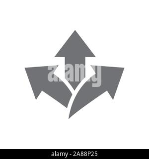 Arrow, directional way sign, with making a decision or choice icon vector - Stock Photo