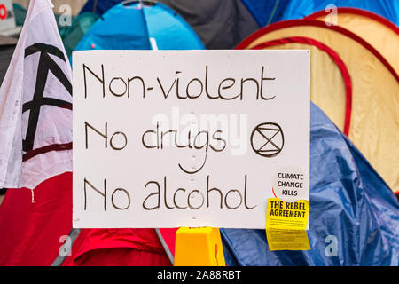 Signs and banners at Extinction Rebellion Protest - Stock Photo