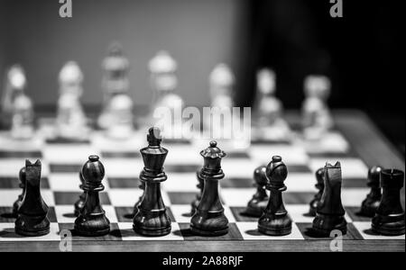Monochrome shallow depth of field (selective focus) image with wooden chess pieces on a wooden table before a professional competition. - Stock Photo