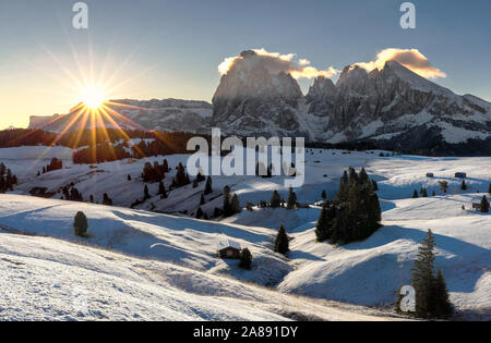 Picturesque sunrise panoramic view on Odle - Geisler mountain group, Seceda and Seiser Alm (Alpe di Siusi). Beautiful morning autumn scenery in the Do - Stock Photo