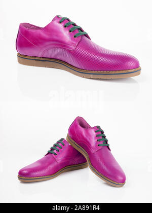 Male pink leather shoes on white background, isolated product. - Stock Photo