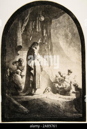 Rembrandt van Rijn, The Raising of Lazarus, ('The Larger Plate'), engraving, circa 1632 - Stock Photo