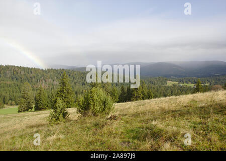 Rainbow in the black forest near Ibach,  autumn, Black Forest, Germany - Stock Photo