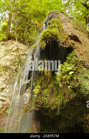 Waterfall with travertine, Wutachschlucht (Wutach canyon),  autumn, Black Forest, Germany - Stock Photo