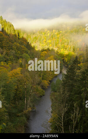 View into Wutachschlucht (Wutach canyon),  autumn, Black Forest, Germany - Stock Photo