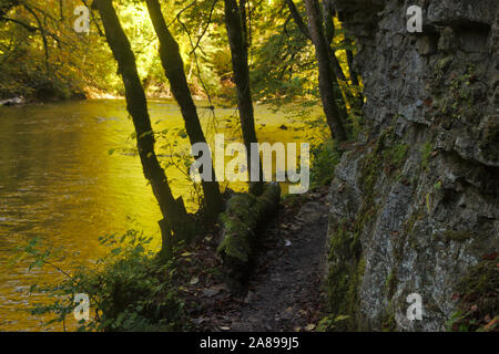 Magic light in Wutachschlucht (Wutach canyon),  autumn, Black Forest, Germany - Stock Photo