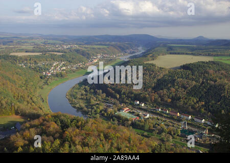 View from Lilienstein towards Bad Schandau - Stock Photo