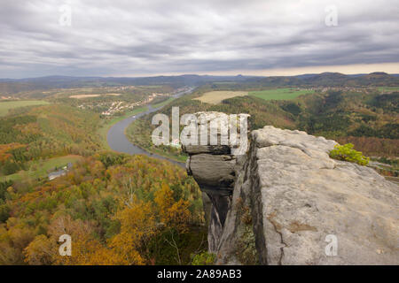 View from Lilienstein towards Bad Schandau, autumn, Sächsische Schweiz, Germany - Stock Photo