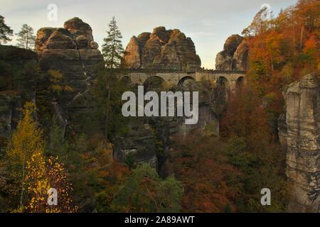 Bastei, bridge from Ferdinandstein, Bastei, Felsenburg Neurathen, autumn, Sächsische Schweiz, Germany - Stock Photo