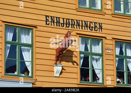 Fishing and trading wooden warehouses in the Bryggen District, a former counter of the Hanseatic League. A UNESCO World Heritage Site, Bergen. Norway - Stock Photo
