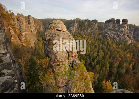 Bastei, Felsenburg Neurathen, autumn, Sächsische Schweiz, Germany - Stock Photo