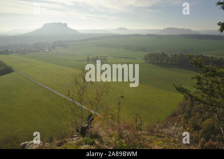 View from Rauenstein to Lilienstein, Pfaffenstein and Königsstein, autumn, Sächsische Schweiz, Germany - Stock Photo