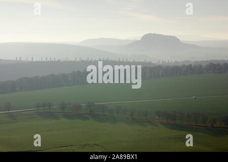 View from Rauenstein to Pfaffenstein, autumn, Sächsische Schweiz, Germany - Stock Photo