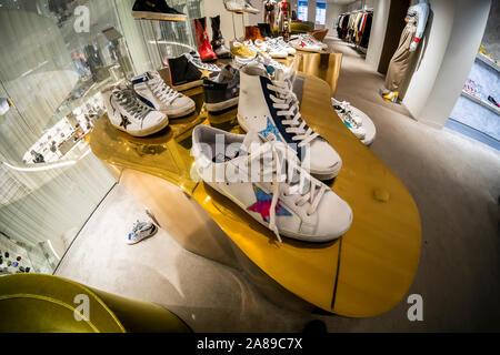 Golden Goose Superstar brand sneakers on display in Barneys in New York on Monday, November 4, 2019. (© Richard B. Levine) - Stock Photo
