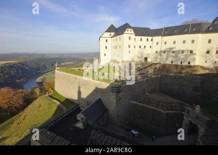 Gate of Festung Königsstein, autumn, Sächsische Schweiz, Germany - Stock Photo