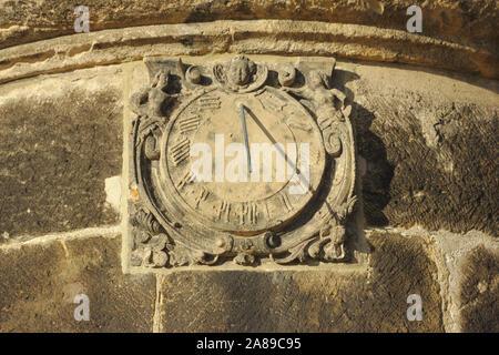 Sundial on Festung Königsstein, autumn, Sächsische Schweiz, Germany - Stock Photo