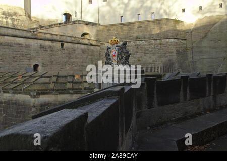 Coat of arms on the gate of Festung Königsstein, autumn, Sächsische Schweiz, Germany - Stock Photo