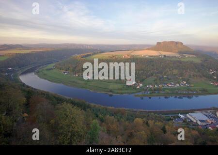 View to Elbe and Lilienstein from Festung Königsstein, autumn, Sächsische Schweiz, Germany - Stock Photo