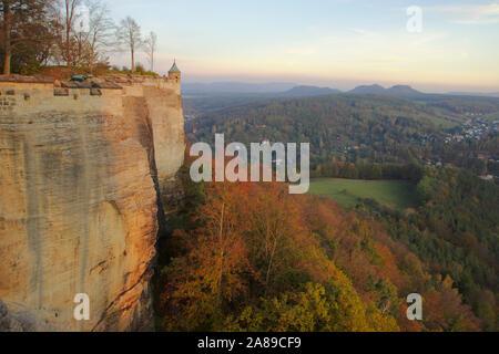 View from Festung Königsstein, autumn, Sächsische Schweiz, Germany - Stock Photo