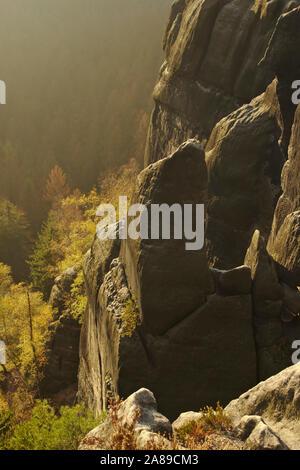 Sandstone and trees in morning light, Heilige Stiege, autumn, Sächsische Schweiz, Germany - Stock Photo