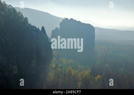 Viewpoint Breite Kluft, autumn, Sächsische Schweiz, Germany - Stock Photo