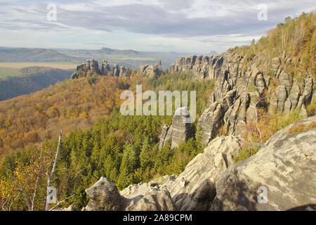 Schrammsteine Gratweg, autumn, Sächsische Schweiz, Germany - Stock Photo