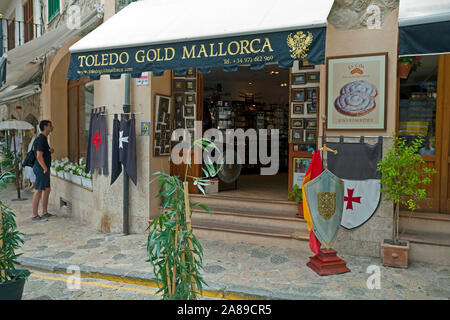 Souvenir shop at historic center of Valldemossa, region Comarca, Serra de Tramuntana, Mallorca, Balearic islands, Spain - Stock Photo