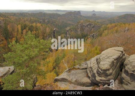 Carolafelsen, autumn, Sächsische Schweiz, Germany - Stock Photo