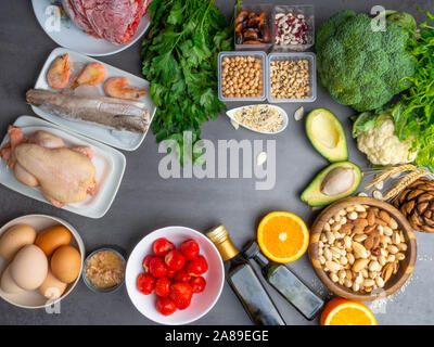 Composition with food contains coenzyme Q10, antioxidant, produce energy to cell, products against free radicals, and supports body as it ages, immune - Stock Photo