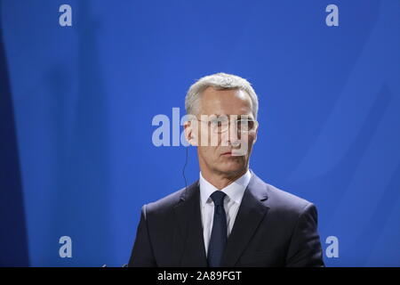 11/07/2019, Berlin, Germany, Jens Stoltenberg in the Chancellery. German Chancellor Angela Merkel receives NATO Secretary General Jens Stoltenberg on 7 November for a working visit to the Federal Chancellery. In addition to exchanging views on current issues, the exchange of views will include, in particular, the forthcoming NATO Heads of Government meeting in London on 3 and 4 December 2019, which celebrates the 70th anniversary of the Alliance. - Stock Photo