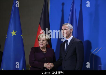 11/07/2019, Berlin, Germany, Chancellor Angela Merkel and Jens Stoltenberg in the Chancellery. German Chancellor Angela Merkel receives NATO Secretary General Jens Stoltenberg on 7 November for a working visit to the Federal Chancellery. In addition to exchanging views on current issues, the exchange of views will include, in particular, the forthcoming NATO Heads of Government meeting in London on 3 and 4 December 2019, which celebrates the 70th anniversary of the Alliance. - Stock Photo