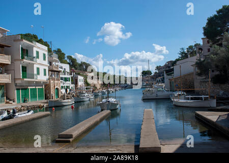 Cala Figuera Majorca, view of this natural inlet and traditional village which retains an atmosphere of a working fishing port. - Stock Photo