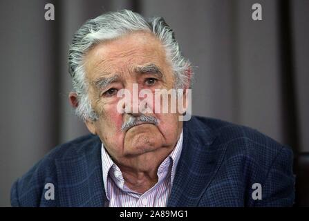 Montevideo, Uruguay. 07th Nov, 2019. Uruguayan former president Jose Mujica (2010-2015) attends a press conference at a hotel of Montevideo, Uruguay, 7 November 2019. Mujica was announced as future minister of Livestock, Agriculture and Fisheries in case the candidate of Broad Front Daniel Martinez wins the presidency in the elections of November 24. Credit: Federico Anfitti/EFE/Alamy Live News - Stock Photo