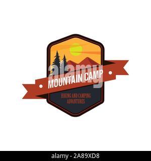 Vintage outdoors logos set. Hand drawn mountain travel badges, wildlife emblems. Camping labels concepts. Explorer illustrations - Stock Photo