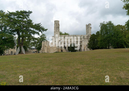 Jumieges, Normandy / France - 13 August 2019: view of the ruins if the historic Jumieges Abbey in Normandy