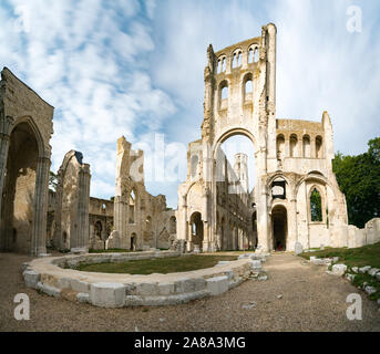Jumieges, Normandy / France - 13 August 2019: the old abbey and Benedictine monastery at Jumieges in Normandy in France
