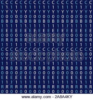 Abstract cyberspace background of numbers and letters. Cybernetic vector background - Stock Photo