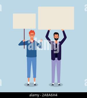 men protesting with blank placards - Stock Photo