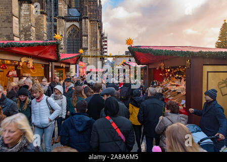 2018 Cologne Christmas market with Cologne Cathedral at background in Germany - Stock Photo