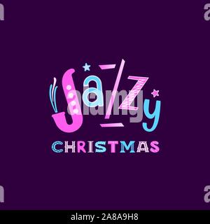 Jazzy Christmas holiday music fest hand drawn flat vector lettering. Christmas Jazz fancy sign design element. Winter season holidays musical festival - Stock Photo
