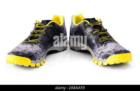 Pair of male sport sneakers on white background - Stock Photo