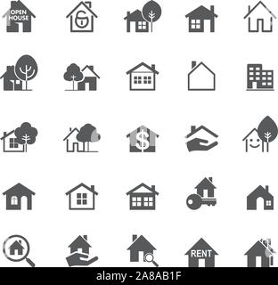 Set of grey isolated house icons on white background. Buildings line icons. Vector Illustration. - Stock Photo