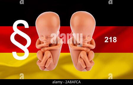 Ein 12-Wochen alter Emybro aus Plastik. Modell für Schwangerschaft, Abtreibung und Verhütung. Schutz von ungeborenem Leben. - Stock Photo
