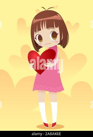 Little girl holding a heart vector illustration - Stock Photo