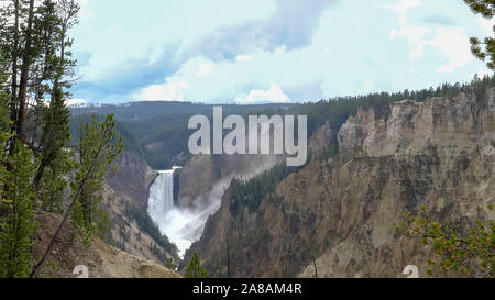 afternoon wide shot of lower falls from artist point in yellowstone - Stock Photo