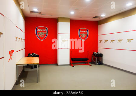 LONDON, UK - OCT 5TH 2019: The gym area on display to the public at the Arsenal Emirates Stadium Tour. - Stock Photo