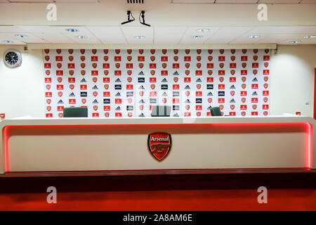LONDON, UK - OCT 5TH 2019: The Press Room on display to the public at the Arsenal Emirates Stadium Tour. - Stock Photo